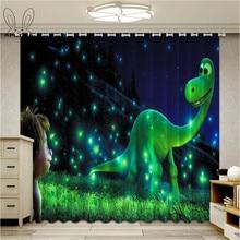 Dinosaur Print Windows Curtains for Living Room Cartoon Kids Bedroom Cortinas Ultra-thin Micro Shading Blind Drapes