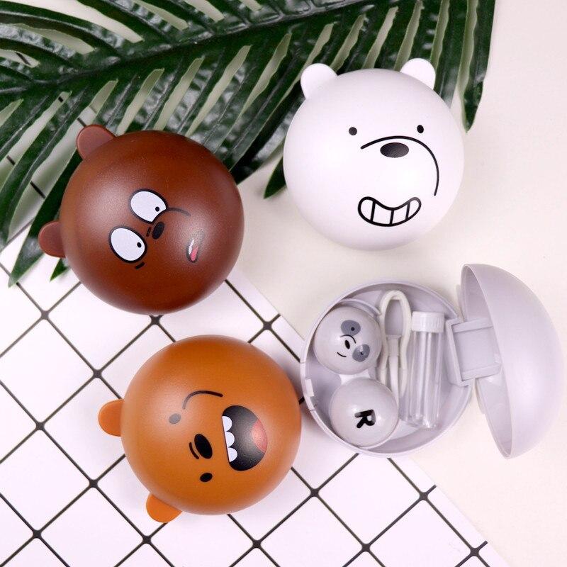Estuche para lentes de contacto de oso de dibujos animados estuche para lentes de contacto de animales lindos estuche para almacenamiento de contenedor para mujeres y hombres
