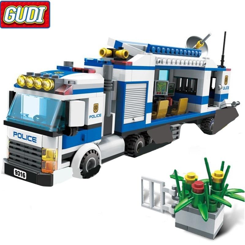 GUDI 407Pcs Urban City Mobile Police Station Figures Building Blocks Toys Compatible With 4 Figures City 9316 Kids Bricks Gift