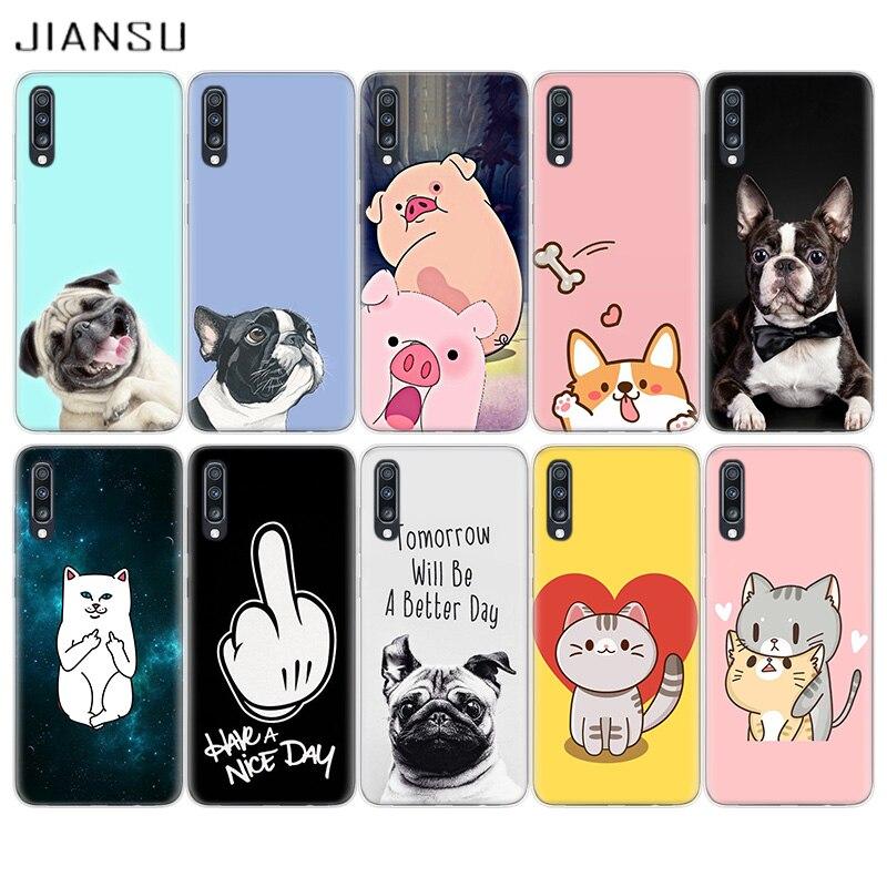 Funda de teléfono JIANSU para Samsung S6 S7 S8 S9 S10 S11 Plus, funda Note 8 9 10 Pro, carcasa para J4 J6 Plus J8 2018, carcasa con dibujo de perro cerdo gato Co