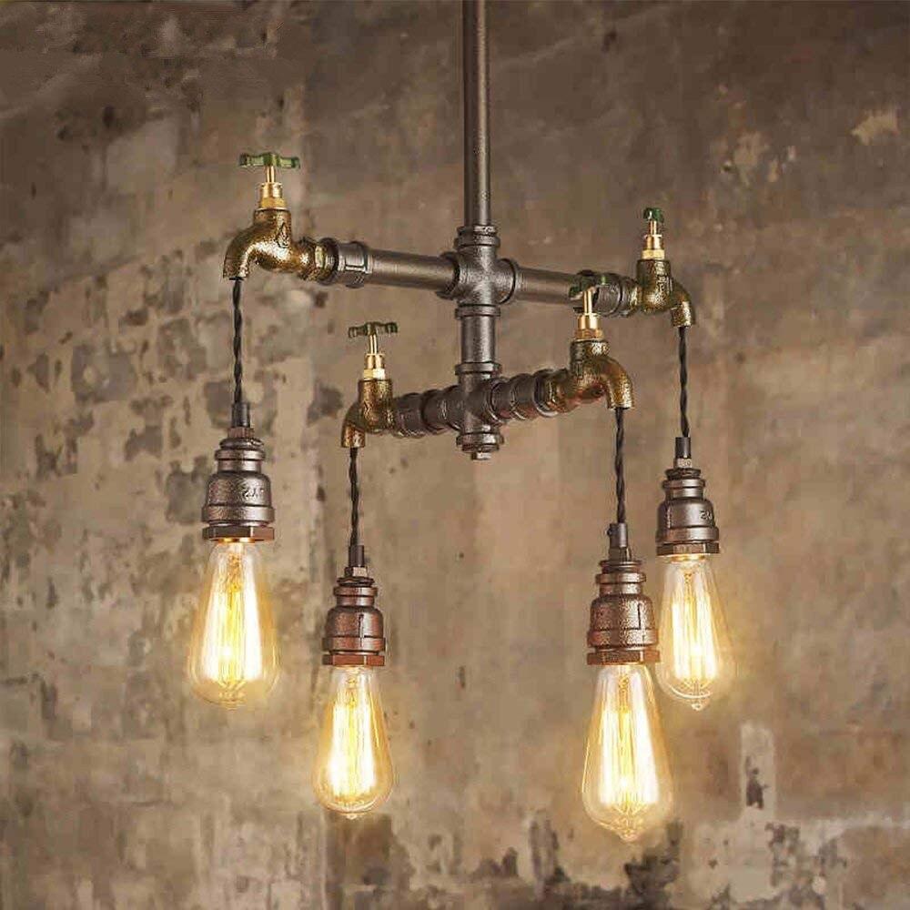 مصباح معلق على طراز دور علوي صناعي ، نمط steampunk ، عاكس الضوء ، أنبوب مياه معدني ، منزل ريفي ، مطبخ ، غرفة طعام ، طاولة مزخرفة