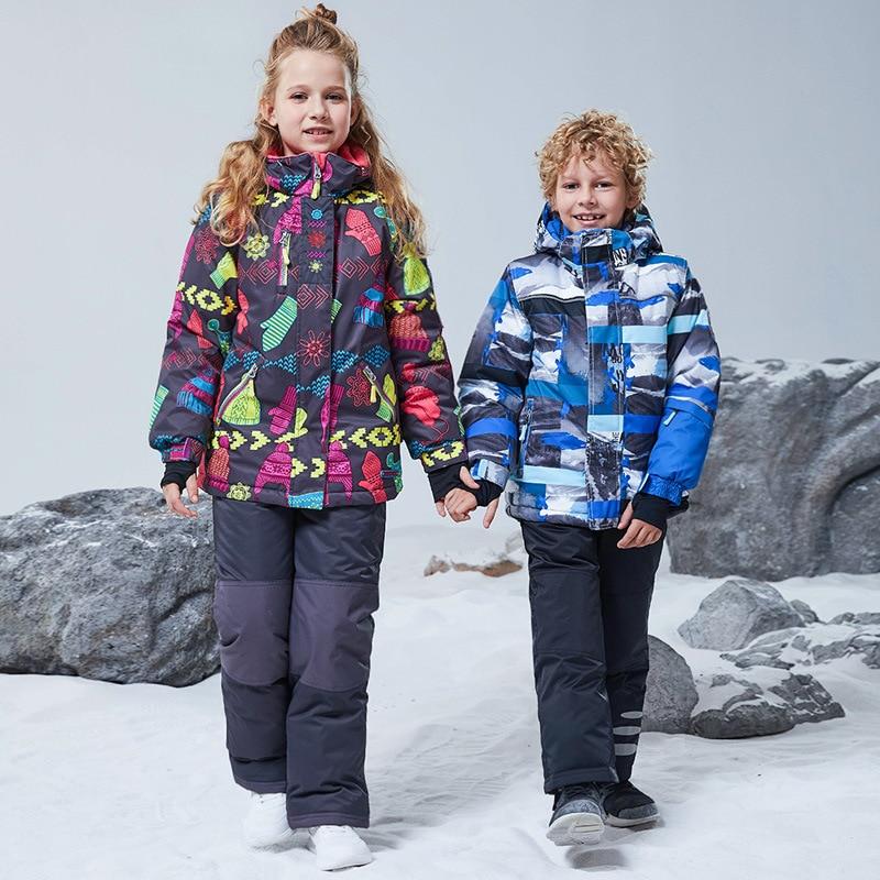 بدلة تزلج للأطفال, بدلة تزلج للأطفال مقاومة للماء والرياح سترة دافئة سميكة للثلج + بنطلون مع وشاح للبنات والأولاد بدلة تزلج للتزلج على الجليد