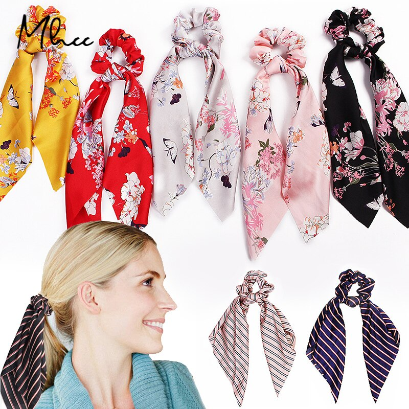 Floral Satin Scrunchies Women Elastic Hair Bands Ties Scarf Woman Scrunchy Hairbands Turban Head Wra