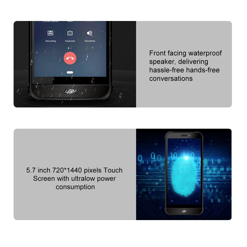 AGM A10 128G Rugged Mobile Phone Android™ 9 Front placed speaker 5.7