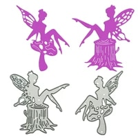 small size fairy on stump pattern metal cutting dies scrapbooking handmade memory card clipart decorating craft paper cutter
