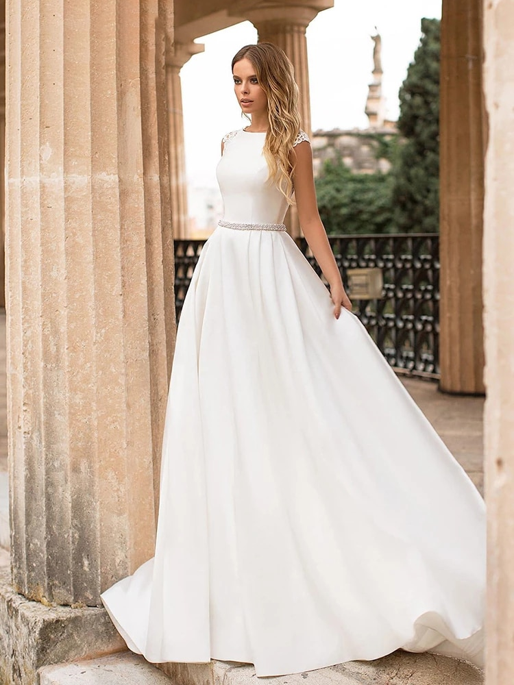 Review Luxury Matte Soft Satin A Line Wedding Dresses Sleeveless O-neck Sweetheart Gowns Pearl Belt Lace Button