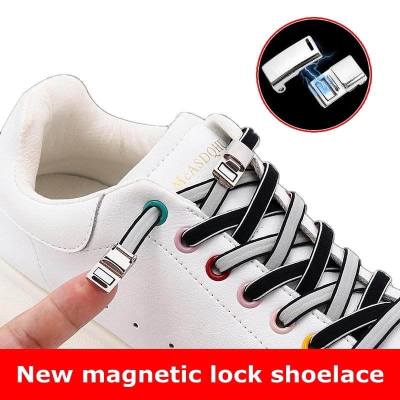 Овальные шнурки, магнитный металлический замок, без завязывания, легкая установка, быстрая установка, надевайте и снимайте ленивые шнурки з...