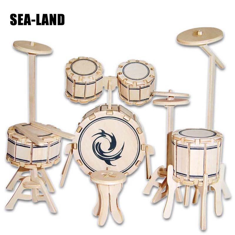 Классные детские игрушки, деревянные 3D Пазлы для детей, наборы барабанов, обучающая игрушка Монтессори, сделай сам, вызов IQ, подарок для дете...