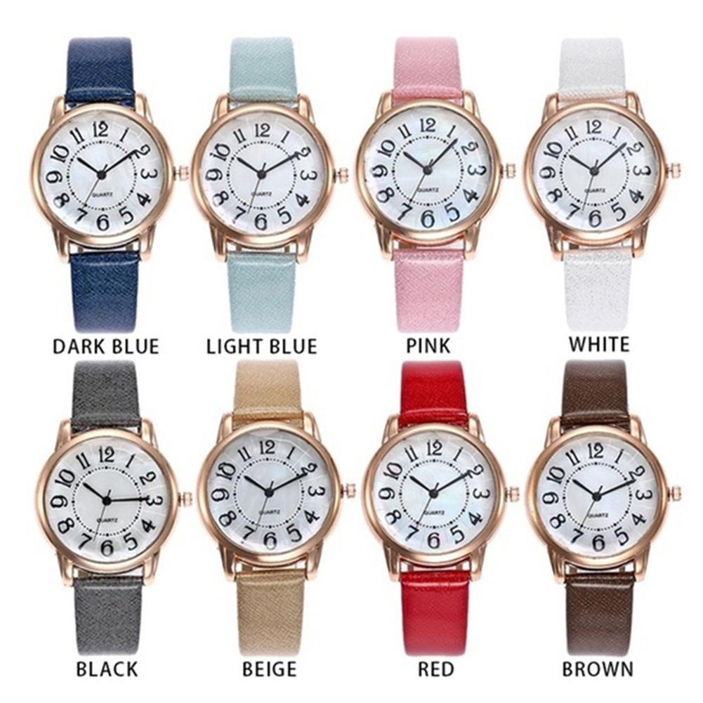 Número árabe dial redondo analógico de banda de cuero par cuarzo reloj de pulsera de hombres y mujeres Simple reloj de cuarzo par de regalos