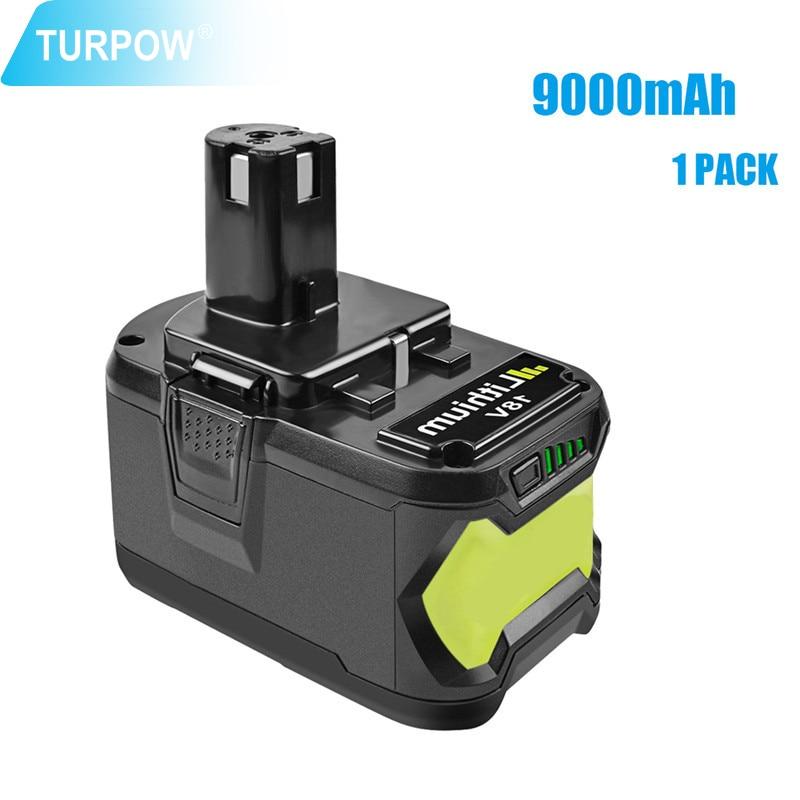 Turpow استبدال أدوات كهربائية بطارية ل Ryobi 18 فولت 6000 مللي أمبير 9000 مللي أمبير P108 بطارية RB18 ليثيوم أيون بطارية قابلة للشحن حزمة