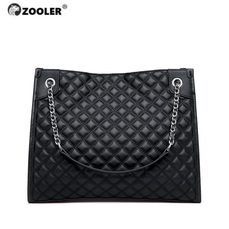 Zooler exclusivamente genuíno couro feminino bolsas de ombro bolsa de couro macio senhoras saco acolchoado elegante preto feminino sacos # qs226