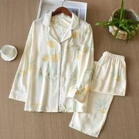 women autumn 2 piece cotton pajamas set long sleeve lapel button down tops loose pants vintage floral printed sleepwear