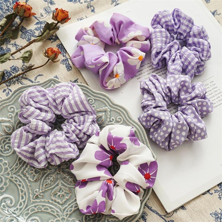 2021 New Lavender Color Scrunchie Set 5pcs/lot Women Flowers Schrunchie Pack Kawaii Cute Lolita Accessories Scruncie Chouchou