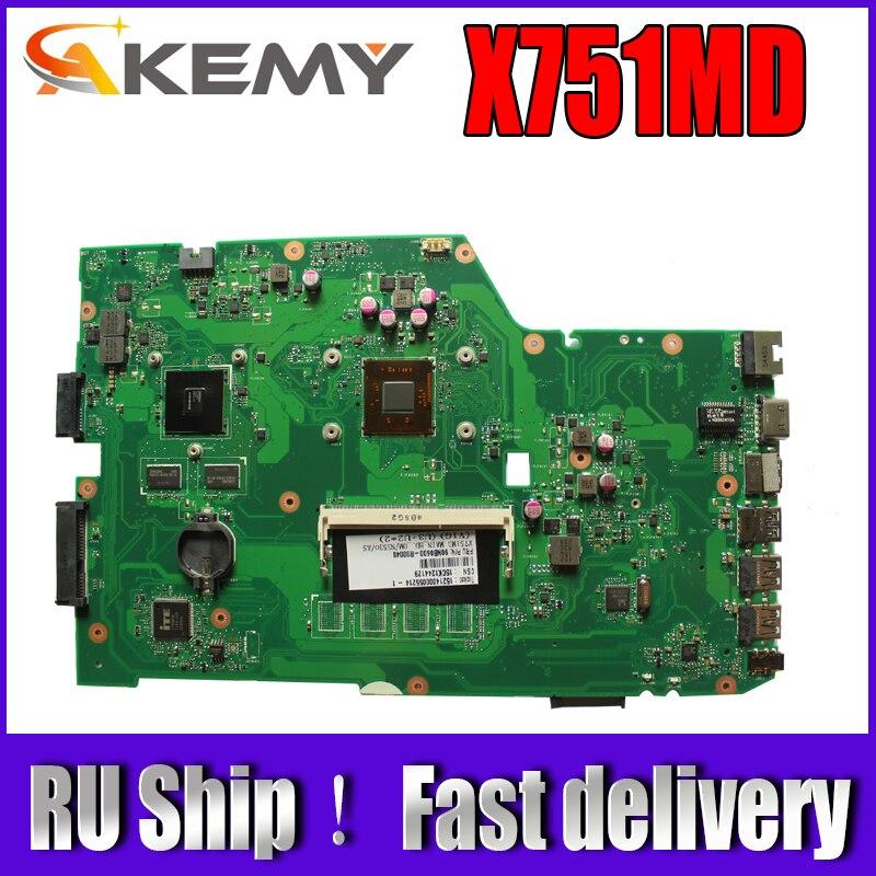 Akemy X751MD لوحة الأم للكمبيوتر المحمول Asus X751MD X751MJ X751M K751M اختبار اللوحة الرئيسية الأصلية N3520 وحدة المعالجة المركزية 4 النوى 2.167 GHZ