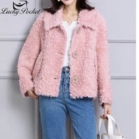 women autumn winter fashion solid color loose real lamb wool coat female casual new warm fur leather ladies brand outerwear m750