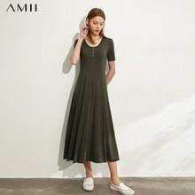 AMII minimalisme printemps été solide plissé femmes robe casual Oneck taille haute doux Ankel-longueur femme robe 12030144