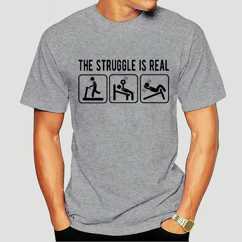 La lucha es Real Camisetas de hombres impresas Retro Casual Hombre Vintage...
