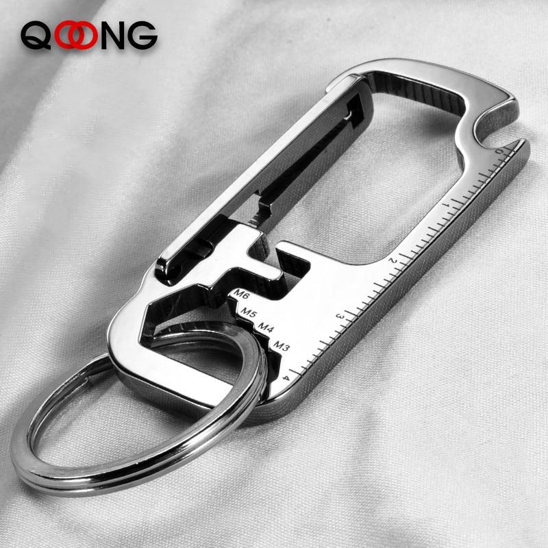 QOONG 2020 брелки из нержавеющей стали EDC Многофункциональный инструмент брелки с открывалка для бутылок в форме гаечного ключа линейка брелок ...