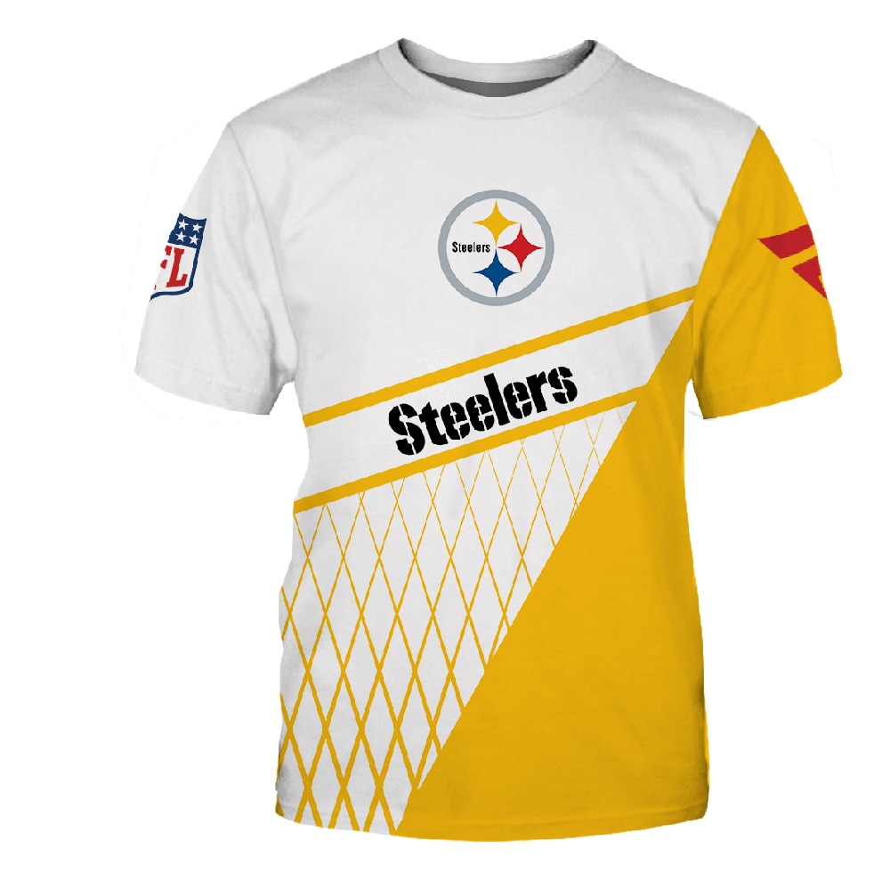 Nieuwe Pittsburgh Trendy Amerikaanse Voetbal Zomer Korte Mouwen Steelers Gedrukt Training Dienen T-shirt Ademend Plus Size Tops