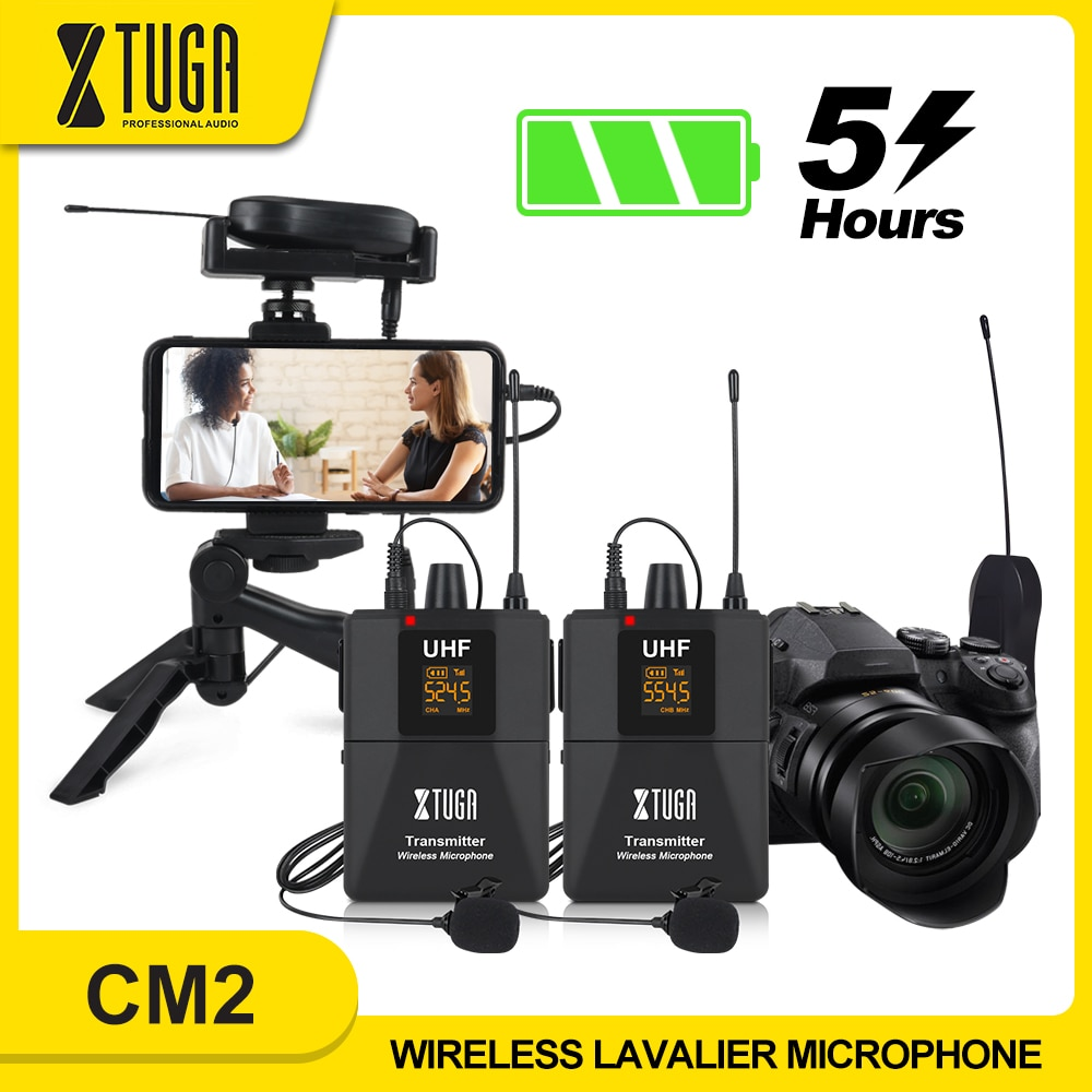 XTUGA Camera Microphone with Mini Rechargeable Receiver UHF Wireless Lavalier Mic for Phone DSLR Camera Interview Live Recording xtuga wireless lavalier microphone professional uhf camera microphone with 30 selectable channels for slr camera dv camcorder