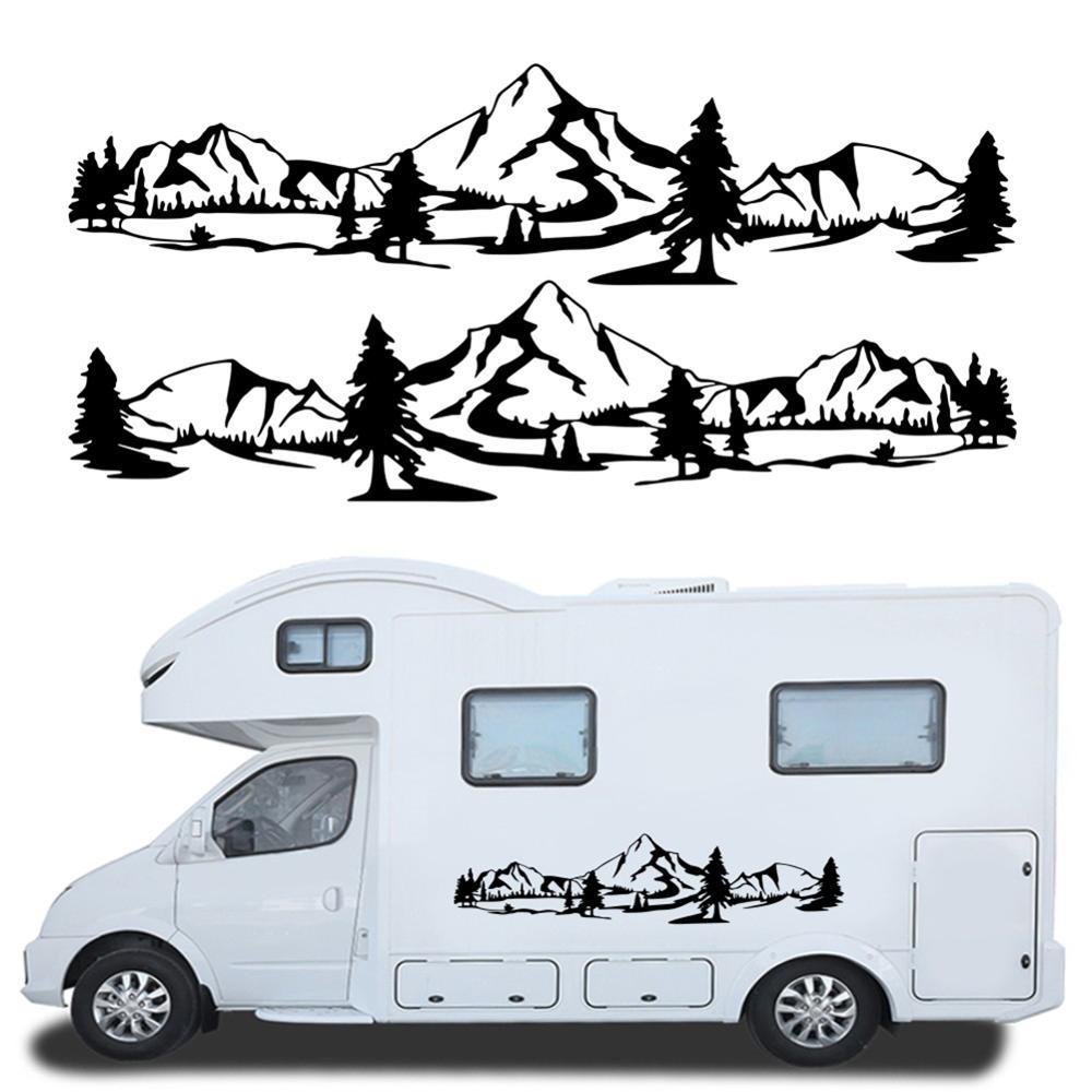 Hot Sale 150cm RV sticker Tree Decal Mountain Scene car Sticker Forest Vinyl Graphic Kit For Camper RV Trailer Car Accessories