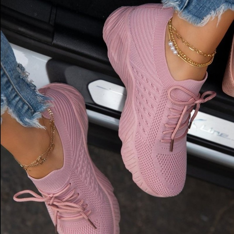 Women Sneakers Casual Shoes Comfortable Mesh Lace-Up Ladies Sport Shoes Wedges Chunky Women's Vulcan