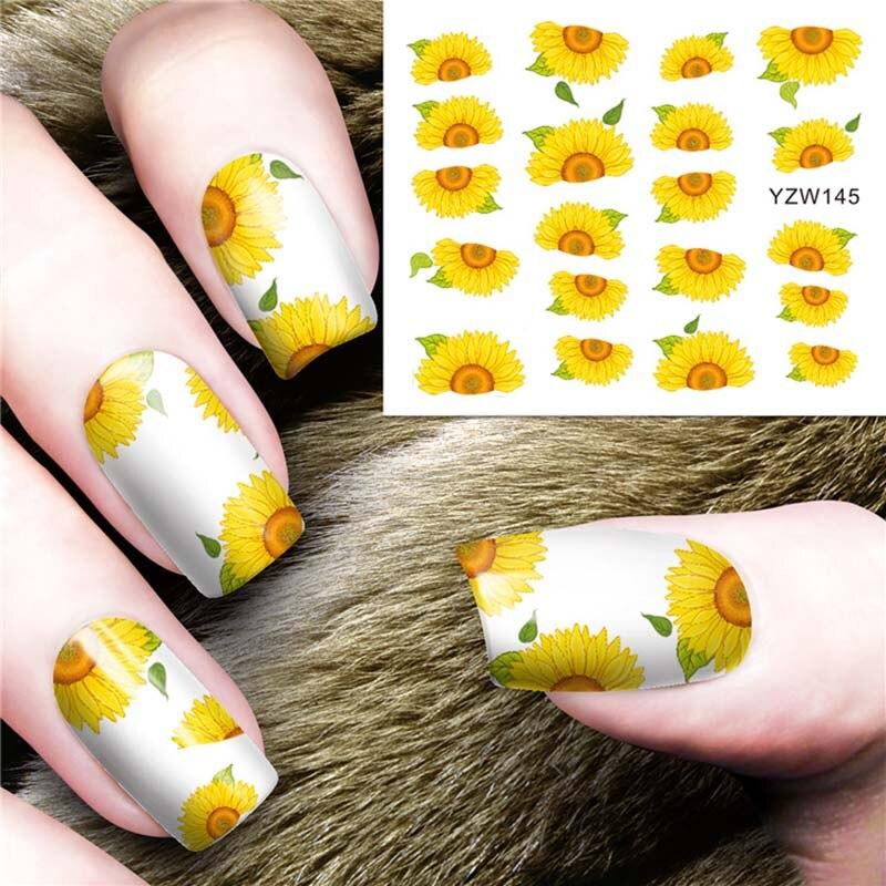 Adesivos para manicure e nail 1 peça, adesivos de desenhos animados, árvore, margarida, rosa, transferência com água, adesivo de manicure fw013