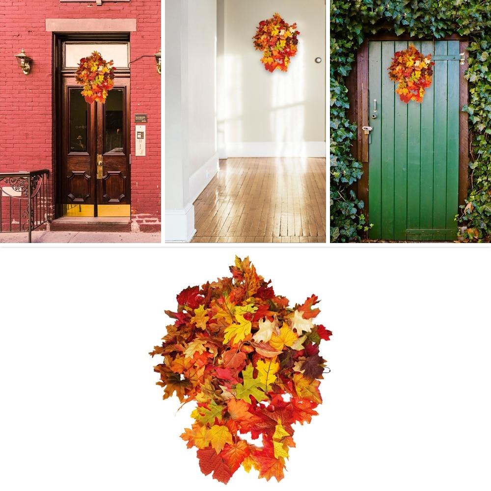 Hojas de arce Artificial césped ecológico paisaje balcón bodas Diy decoración otoño Hojas de arce