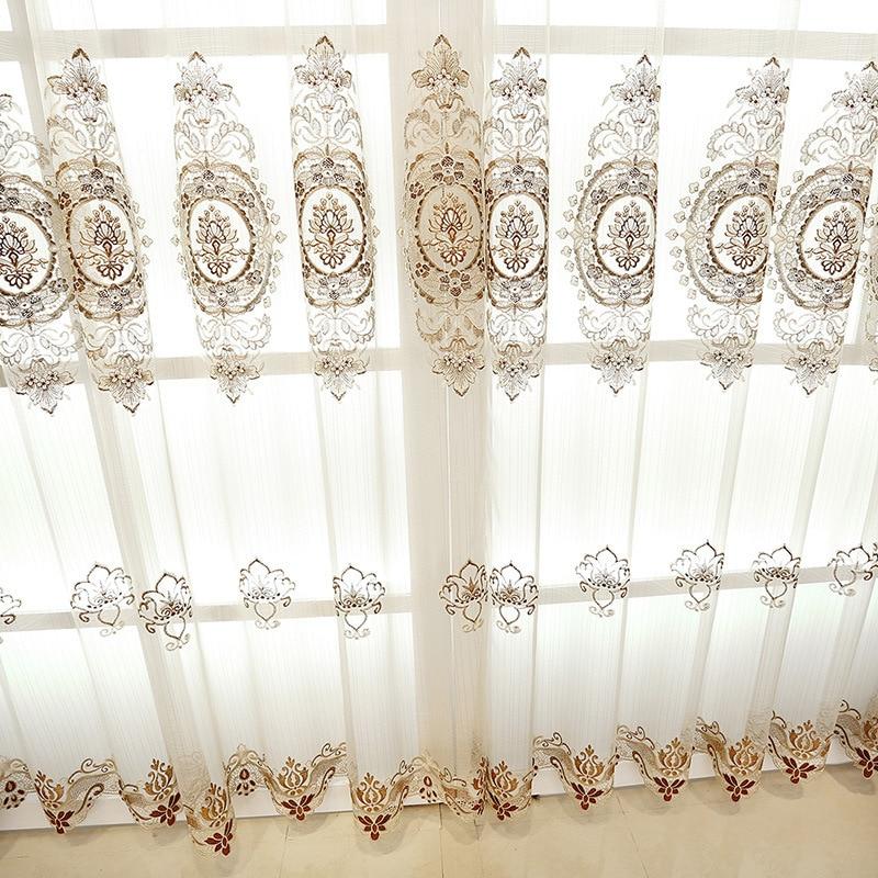 Personalizada de estilo europeo soluble en agua-bordado cortina de gasa de cortina...