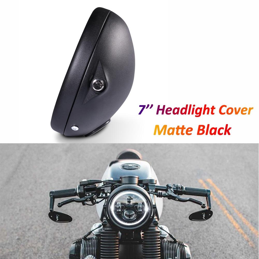 7 بوصة LED المصباح الخلفي غطاء لدراجة نارية مقهى المتسابق بوبر سبورتر مخصص كشافات مستديرة إضاءة معدنية السلطانية ماتي الأسود