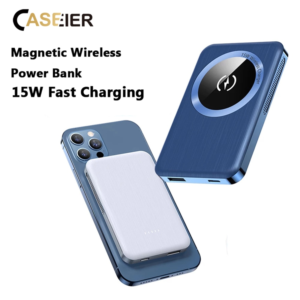 CASEIER 15W Magnetic Wireless Power Bank Backup Mag Safe Fast Charging 20W PD Charge Mini PowerBank