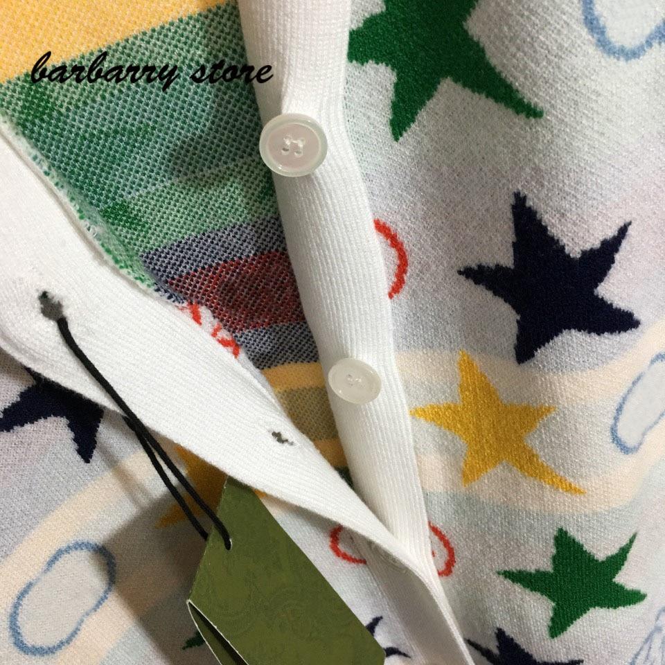 2021 luxury design high-end pentagonal star fashion women's long sleeved cardigan temperament versatile V-neck knitted coat enlarge