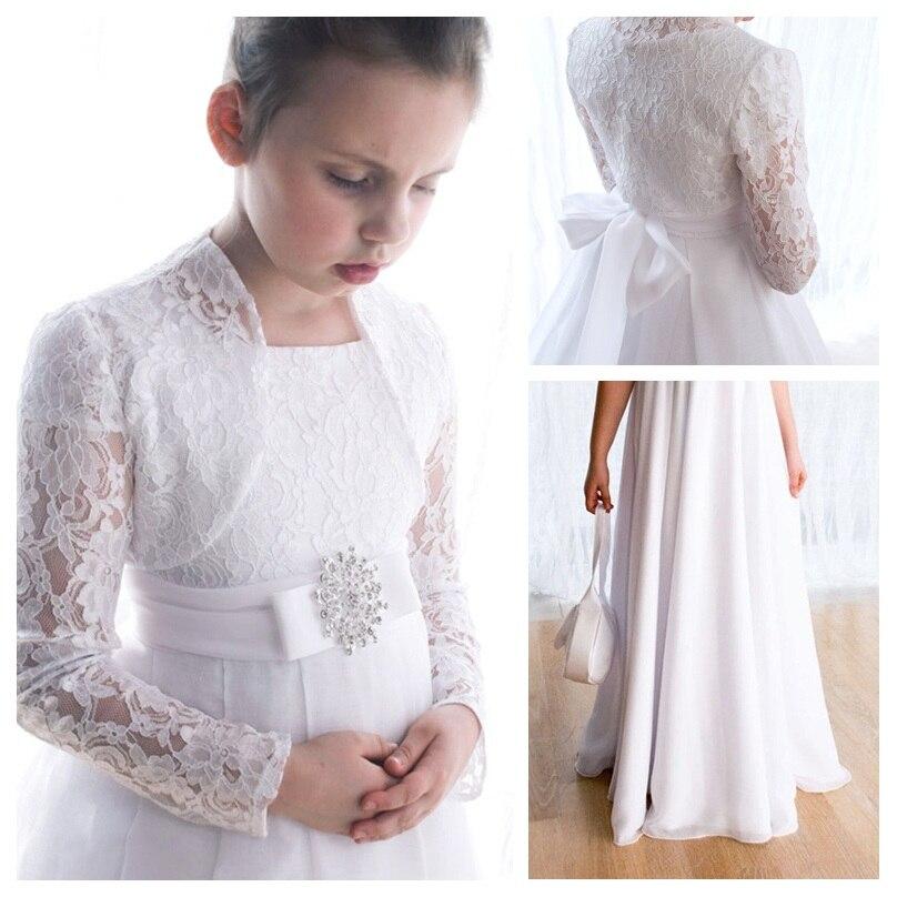 Vestido de princesa para niños vestidos de primera comunión de encaje para niñas vestidos de flores para bodas con chaqueta vestidos de desfile para niñas