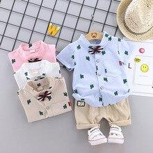 Vêtements dété pour bébé garçon   Chemise short à manches courtes, en coton et lin, imprimé de cactus de dessin animé, ensemble deux pièces