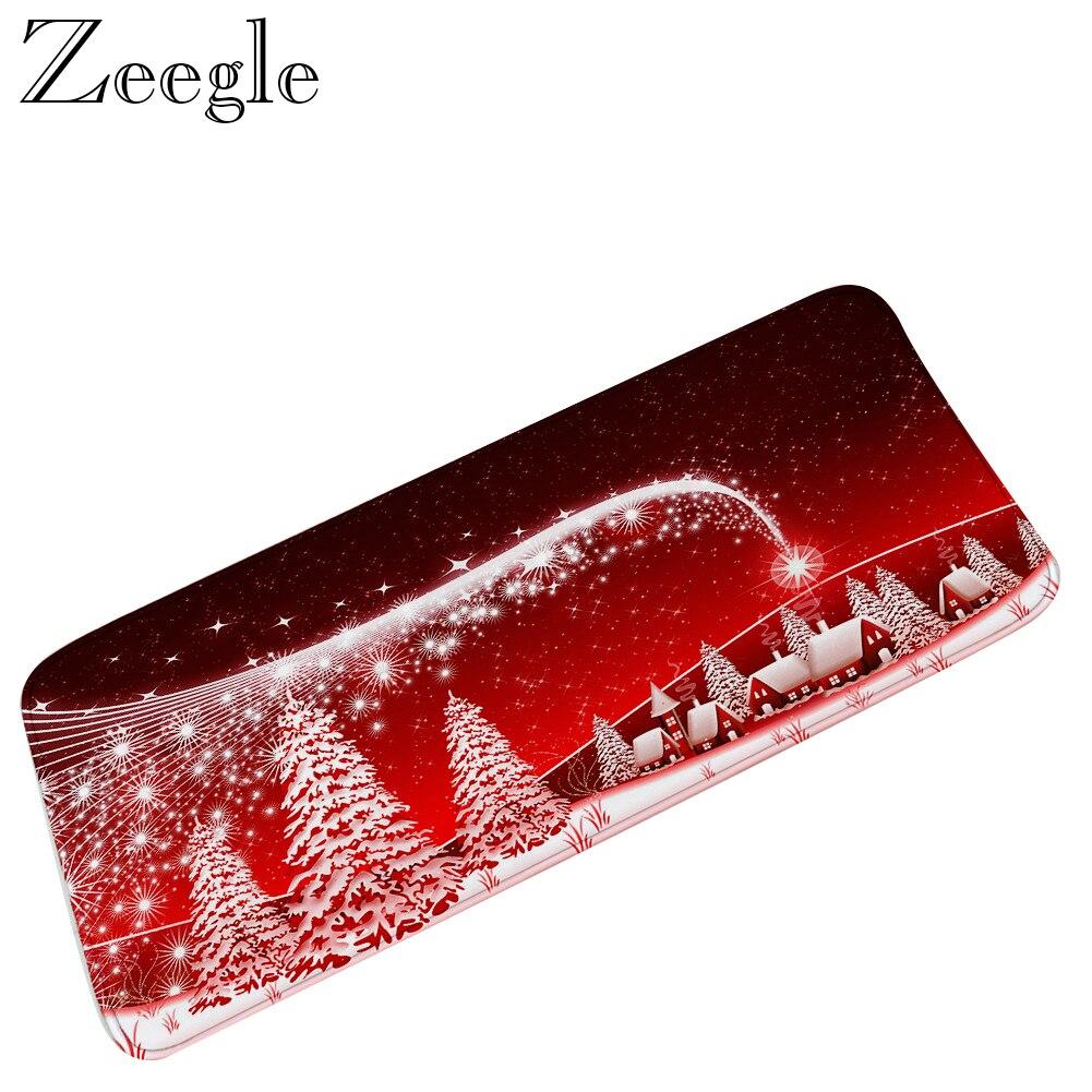 Zeegle, alfombra larga de Navidad para sala de estar, alfombra de franela para cocina, alfombra absorbente para pasillo, alfombrilla de microfibra para pies de baño, alfombrilla de salida de escape