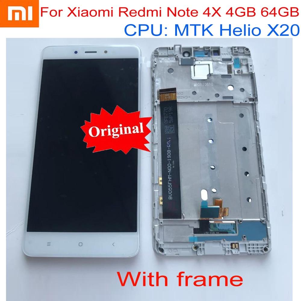 مستشعر جديد أصلي 100% لهاتف Xiaomi Redmi Note 4X Pro 4GB 64GB MTK Helio X20 شاشة LCD تعمل باللمس محول رقمي مع إطار