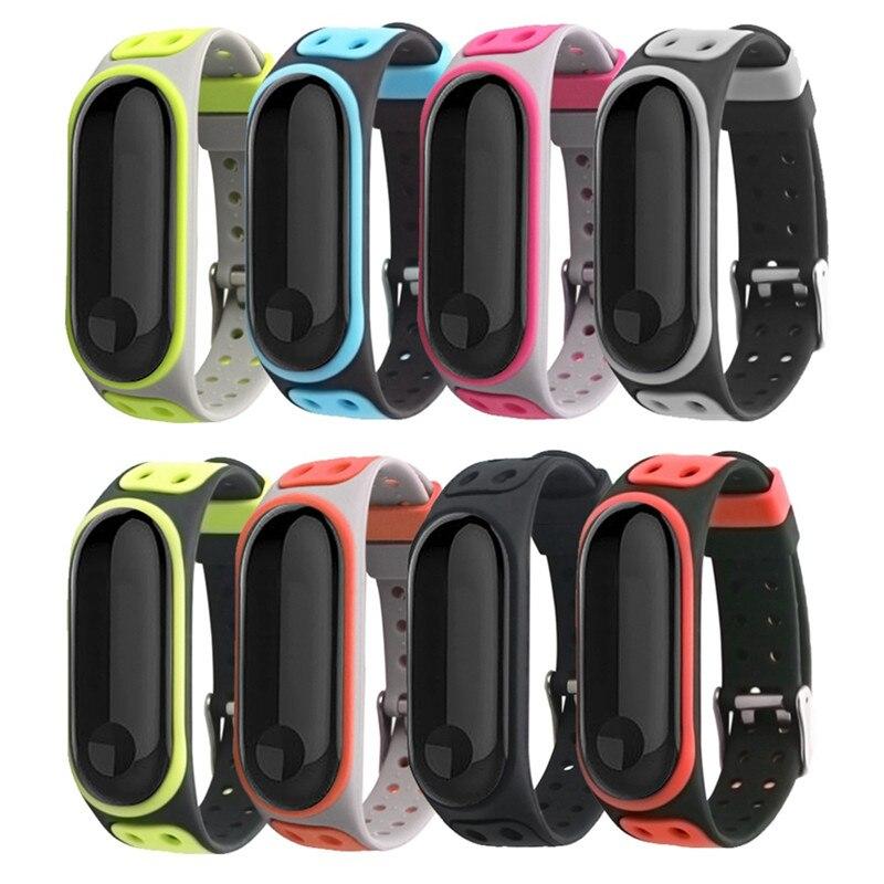 Correa de pulsera para Xiaomi mi Band 4 correa de silicona de doble color pulsera de doble pecho para Xiaomi mi band 3 accesorios de correa