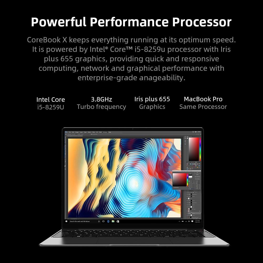 CHUWI CoreBook X Intel Core i5-8259U Laptops 14 Inch 2160x1440 Resolution DDR4 8GB 512GB SSD Winddows 10 Computer 46.2W Battery 6