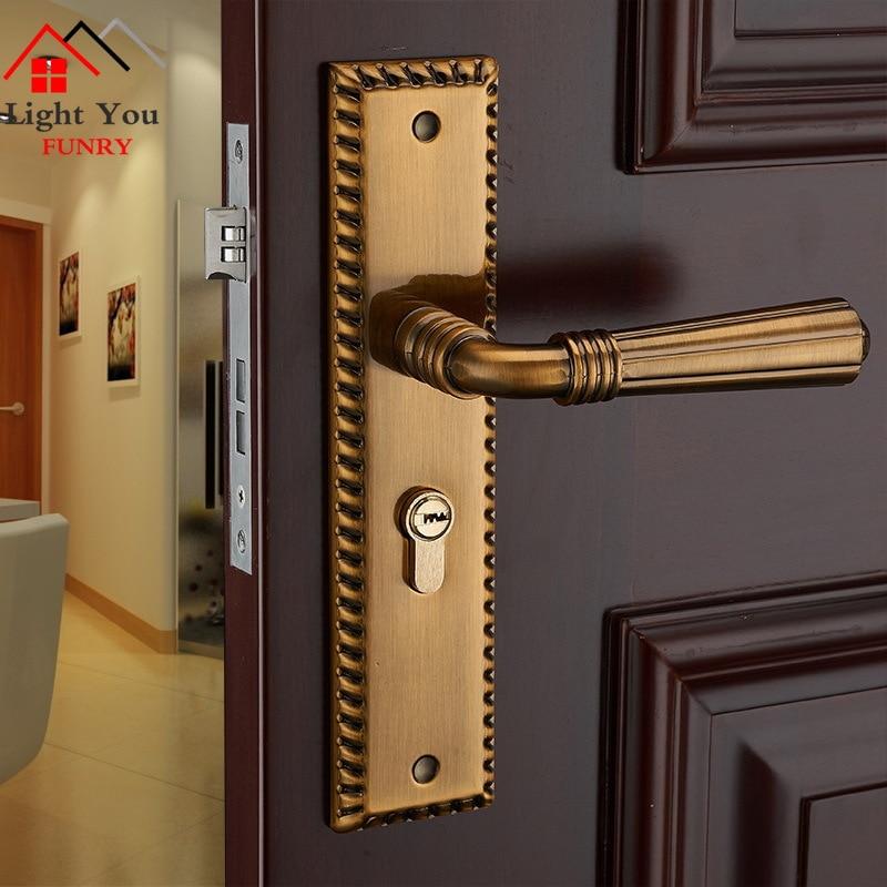 جديد الأوروبية الداخلية الباب قفل البرونزية الأصفر نوم الباب قفل خشب متين قفل الباب مع مقبض قفل