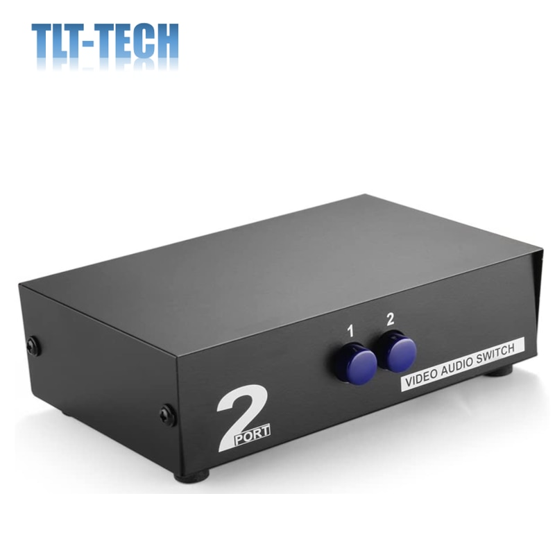 AV Switch Box Switcher Selector (2 Input 1 Output) - 2 Way Port Stereo RCA Audio and Composite Video Selector Switch Box enlarge