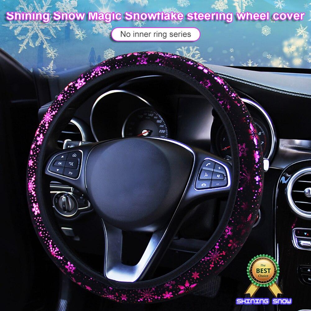 LEEPEE диаметр 38 см, автомобильные чехлы на рулевое колесо, искусственные блестящие снежинки, автомобильные аксессуары, универсальные, 4 цвета