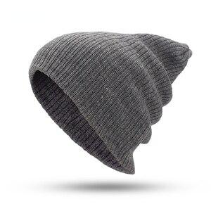 Double Stripe Pullover Hat Warm Wool Hat Outdoor Knitting Hat Draw Needle Beanie Hat Autumn/winter Adult Hat Beanie  Winter Hats