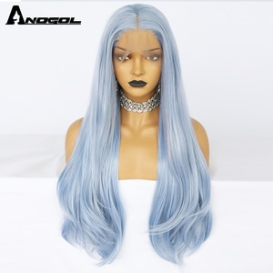 Anogol High Temperature Blue Synthetic Wig Natural Wave Synthetic Lace Front Wig Cosplay Wigs For Black Women