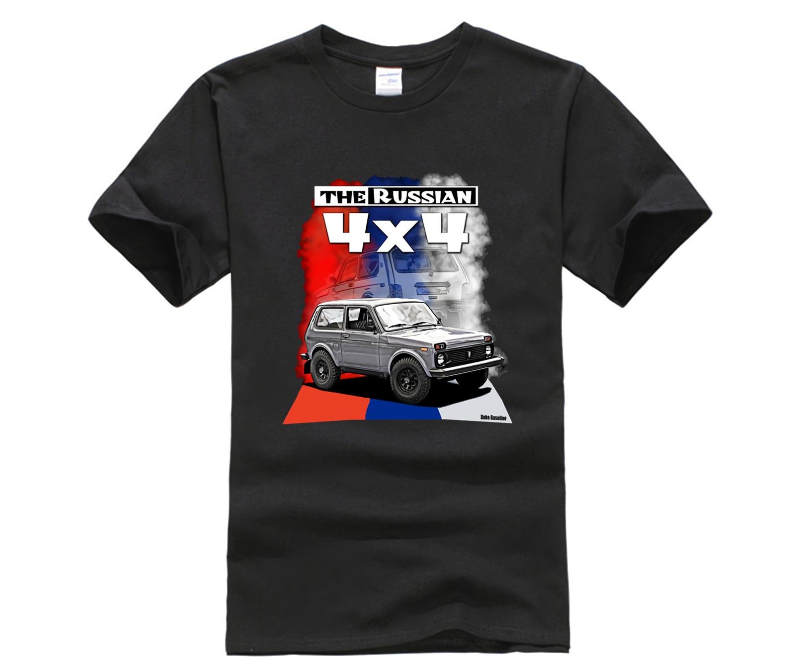 Nuevas camisetas estampadas de moda para hombres Lada Niva, 4X4, Offroad, Allrad, Russland Oldtimer 100% camisetas de algodón nuevas