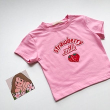 INS Girl Pink T-shirt 2021 Summer New Product Women's Clothes Korean Style Internet Celebrity BM Sty
