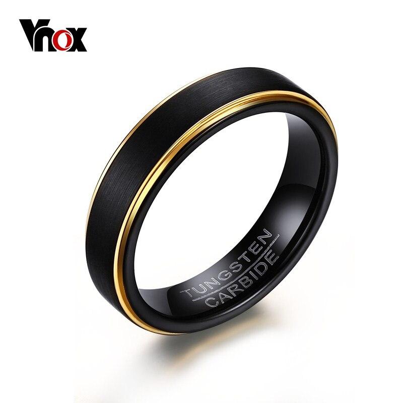 Vnox anillos de tungsteno negro para hombres 5MM anillos de boda delgados de color dorado para joyería masculina