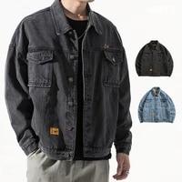 autumn denim jacket mens trend loose large size european and american street fashion brand ins tooling jacket mens jacket