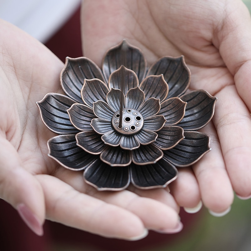 Creative 7 Hole Lotus Bronze Censer Dish For Cone Burner Nine Hole Copper Incense Holder Incense Holder Copper Cone Seat Statue