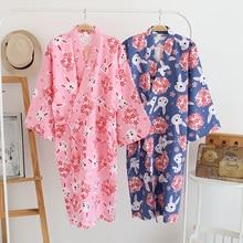 Style japonais Yukata Robes femmes Harajuku robe de bain Ao Dai Pyjamas vêtements de nuit dessin animé lapin Sakura robe dété Pyjamas manteau