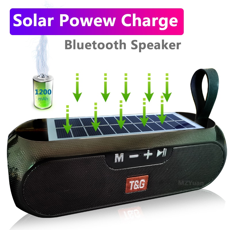 Banco de energía Solar, altavoz Portátil con Bluetooth, columna inalámbrica estéreo, caja de música, Boombox, altavoz para exteriores, resistente al agua, caja de música